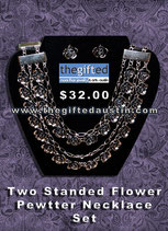 Two Standed Flower Pewtter Necklace Set