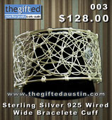 Sterling Silver 925 Wired Wide Bracelete Cuff