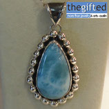 Large Larimar drop on solid Sterling silver .925 and a beautiful patina to make the stone stand out