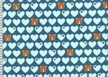 Bär mit Herzen, Baumwolljersey, Jeansblau / Hellblau, byGraziela, Swafing