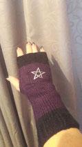 Handstulpen schwarz lila mit Pentagram