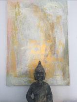 Mal-Workshop: weiß-goldenes Bild auf Leinwand
