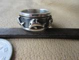 Silver925 純銀指輪 W.Ring 二重リング イルカ 9.3g #14   n610