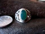 Silver925 純銀指輪 グリーンオニキス     14号 4.9g    n562
