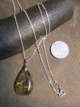 金針水晶、ルチルクォーツ ペンダント (  Silver 925  シルバーチェーン、45cm  )   S7