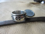 Silver925 純銀指輪 W.Ring 二重リング 8.4g #13   n609