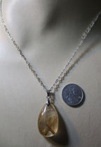 金針水晶、ルチルクォーツ ペンダント ( Silver 925 シルバーチェーン、40cm ) S14