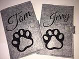 Hundepass-/Katzenpasstasche passend für den EU-Heimtierausweis aus Filz