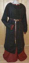 Langer Klappenrock, dunkelbrauner Wollstoff 1B-Ware, Größe 38 bis 42