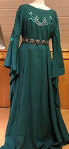 Petrolfarbenes Kleid mit Trompetenärmeln