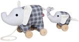 Nachziehtier Elefant Noma + Baby grau