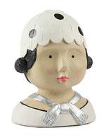 Ladykopf mit weißer Mütze