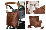 Wickeltasche / Kinderwagentasche aus braunem Lederfaserstoff