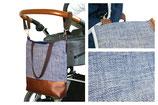 Wickeltasche / Kinderwagentasche: Blau gemustert
