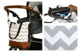 Wickeltasche / Kinderwagentasche: Zick-Zack-Muster (Grau-Weiß)
