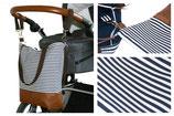 Wickeltasche / Kinderwagentasche: Maritim (Blau-Weiß-Gestreift)