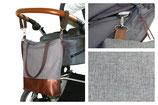 Wickeltasche / Kinderwagentasche: Dunkelgrau
