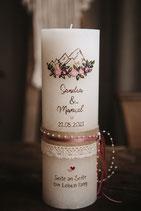 Hochzeitskerze Rustik creme, 30x10cm, Bergsilhouette mit Blumen