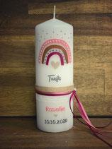 Taufkerze 20x7cm, Regenbogen in rosatönen