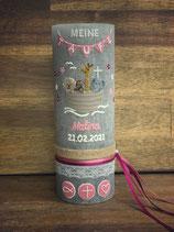 Taufkerze Rustik 20x7cm, grau, Arche Noah in rosa