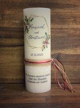 Hochzeitskerze Rustik creme, 30x10cm, Greenery 3