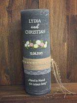 Hochzeitskerze Rustik Grau 30x10cm Blumenranke