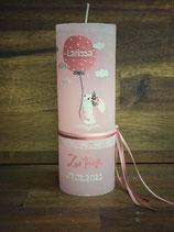 Taufkerze Rustik 20x7cm, Rosé, Hase mit Luftballon