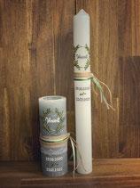 Taufkerze Rustik grau,20x7cm,  Blätterkranz grün-gold