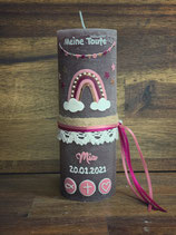 Taufkerze Rustik 20x7cm, Taupe, Regenbogen rosatöne
