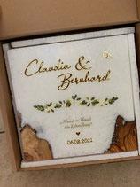 Hochzeitskerze mit eingegossenen Holz, Greenery 2