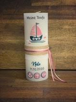 Taufkerze Rustik weiß,20x7cm, Schiff rosa-petrol