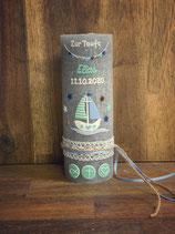 Taufkerze Rustik grau, 20x7cm, Schiff, mint-blau