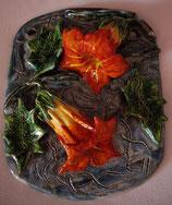 Keramikbild Trompetenblumen