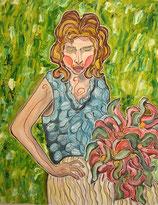 Im Grünen mit Blumenstrauß