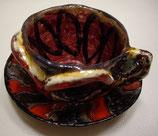 Keramiktasse mit Untertasse Rot-Gold