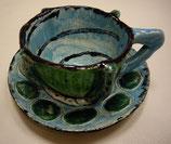 Keramiktasse mit Untertasse Grün-Blau
