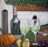 Stilleben mit Wein und Obst