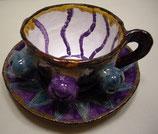 Keramiktasse mit Untertasse Blau-Violett