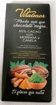 . CHOCOLATE NEGRO TERAPEÚTICO CON MORINGA Y CANELA (PEDIDO MÍNIMO 4 TABLETAS)