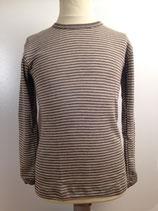 Langarmshirt Wolle/Seide in gestreift creme/wallnuss