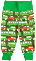 SALE: Tolle Hose mit Bussen und Autos auf grünem Hintergrund von DUNS