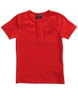 T-shirt uni Rot mit Knopfleiste vorne
