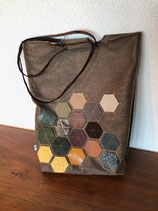 Shoppen aus Filz mit Echt-Leder-Applikationen Hexagon
