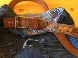 Tasche Jeans blau, Gurt Leder
