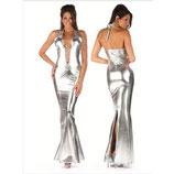 Серебристое длинное платье АРТ-367-7