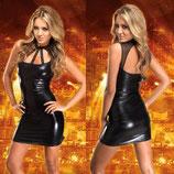 Короткое виниловое платье АРТ-457
