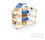Puppenhaus mit 16 Möbeln und 4 Puppen