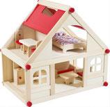 Puppenhaus mit 9 Möbeln und 4 Puppen