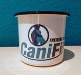 Blechtasse mit CaniFit-Logo