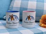 Keramiktasse blau/pink mit Zenias Tiere Logo